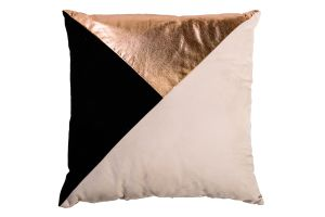 Photograph of Cream, Gold and Black Geometric Cushion – 42cmSQ