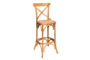 Photograph of Crossback High Bar Stool Oak – 1.1mH x 48cmW
