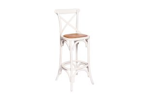 Photograph of Crossback High Bar Stool White – 1.1mH x 48cmW