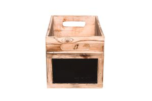 Photograph of Dark Wooden Box Small with Chalk Board – 30cmL x 18cmH