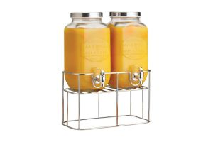 Photograph of Double Glass Drinks Dispenser with Stand – 40cmH x 30cmW x 15cmD