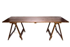Photograph of Exposed Wooden Banquet Trestle Table – Walnut – 1.8mL x 1.1mW