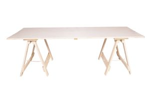 Photograph of Exposed Wooden Banquet Trestle Table – Whitewash – 1.8mL x 1.1mW