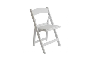 Photograph of Folding Chair White Wooden – 44cmW x 44cmD x 80cmH