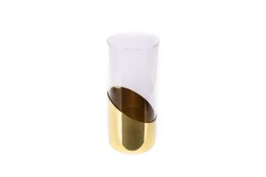 Photograph of Glass Cylinder Vase with Gold Bottom – 21cmH x 9cmD
