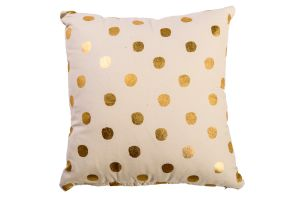 Photograph of Gold and Cream Polkadot Cushion – 40cmSQ