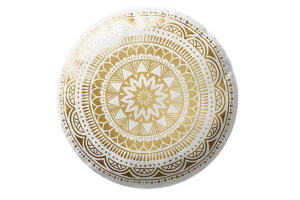 Photograph of Gold and White Round Mandala Cushion – 40cmD
