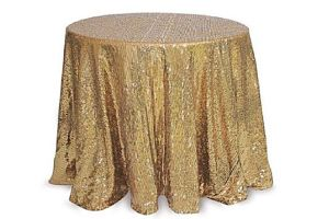 Photograph of Gold Sequin Table Cloth – 1.5mD