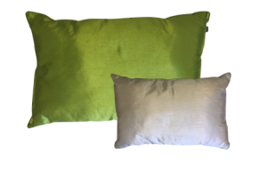 Photograph of Green and Cream Taffeta Reversible Cushion – 60cm x 38cm