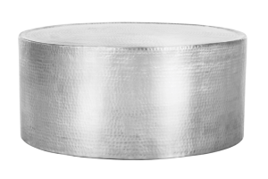 Photograph of Hammered Aluminium Round Coffee Table – 80cmD x 36cmH