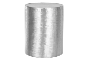 Photograph of Hammered Aluminium Round Side Table – 40cmD x 50cmH