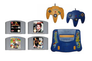 Photograph of N64 Games Console with 4 x games (NBA Jam, Goldeneye, Mario Cart, Mortal Combat)