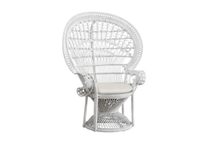 Photograph of Peacock Chair White – 115cmW x 1.5cmH x 65cmD