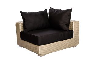 Photograph of Platinum Rattan Single Lounge Square – 88cmW x 88cmD x 50cmH