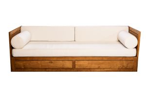 Photograph of Premium Teak Lounge with White Cushions – 2.3mL x 85cmW