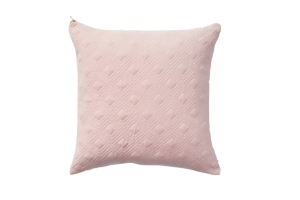 Photograph of Quilted Pink Suede Cushion – 45cmSQ