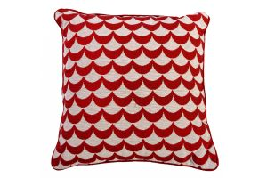 Photograph of Red and White Wave Cushion – 42cmSQ