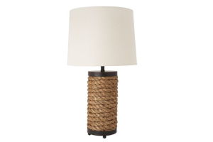 Photograph of Rope Table Lamp with White Shade – 35cmW x 60cmH