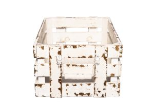 Photograph of Rustic White Wash Crate Medium – 40cmL x 29cmW x 18cmD