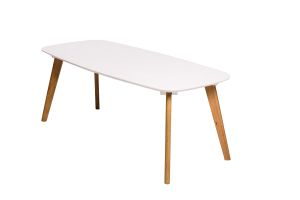 Photograph of Scandi Long White Coffee Table with Wooden Legs – 1.1mL x 50cmD x 42cmH