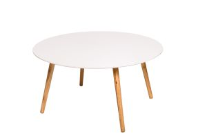 Photograph of Scandi Round White Coffee Table with Wooden Legs – 80cmD x 40cmH