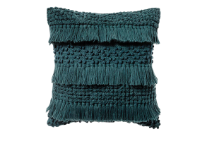 Photograph of Teal Tassel Cushion – 45cmSQ
