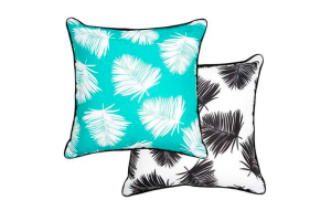 Photograph of Teal, White and Navy Reversible Palm Leaf Cushion – 43cmSQ