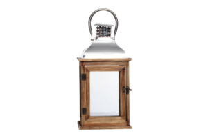 Photograph of Timber and Silver Hurricane Lantern – 39cmH