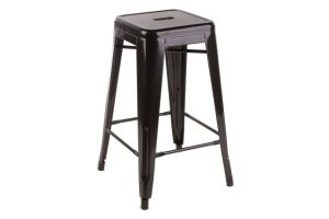 Photograph of Tolix Stool High Black – 40cmSQ x 76cmH