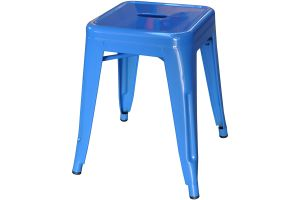 Photograph of Tolix Stool Low Blue – 40cmSQ x 47cmH