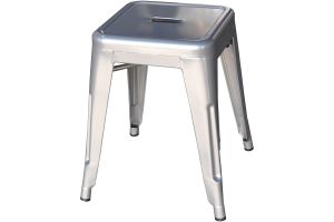 Photograph of Tolix Stool Low Silver – 40cmSQ x 47cmH