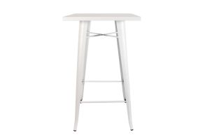 Photograph of Tolix White Cocktail Table with White Top – 60cmSQ x 1.1mH