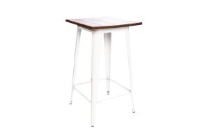 Photograph of Tolix White Cocktail Table with Wood Top – 60cmSQ x 1.1mH