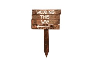 Photograph of Wedding This Way Sign Wooden