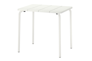 Photograph of White Outdoor Cafe Table – 58cmW x 74cmL x 71cmH