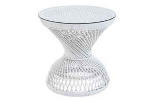 Photograph of White Peacock side Table with Glass Top – 60cmD x 60cmH