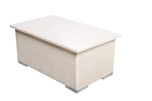 Photograph of White Rattan Coffee Table with White Top – 1mL x 60cmD x 40cmH