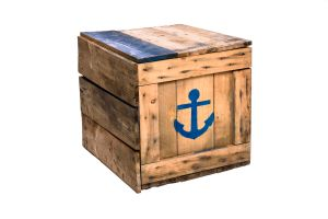 Photograph of Wooden Crate with Blue Anchor and Boat detail