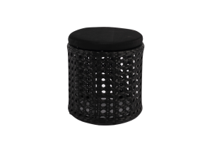 Photograph of Black Rattan Short Stool – 42cmH x 38cmW