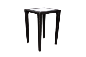 Photograph of Black Rattan Square Cocktail Table with Glass Top – 74cmSQ x 1.1mH