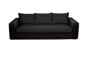 Photograph of Black Rattan Three Seater Lounge – 2.3mL x 97cmD x 60cmH