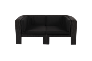Photograph of Black Rattan Two Seater Lounge Curved – 176cmL x 88cmD x 50cmH