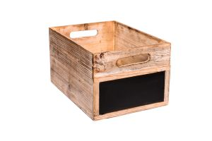 Photograph of Dark Wooden Box Large with Chalk Board – 40cmL x 22cmH