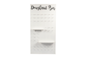 Photograph of Doughnut Wall White with Shelves – 1.2W x 2.4mH – Doughnuts not included!