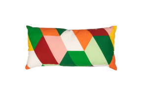 Photograph of Green, Pink, Orange and White Geometric Cushion – 55cm x 25cm