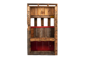 Photograph of Pallet Back Bar Wall with cubby and shelf – 1.4mW x 1.4mD x 2.3mH