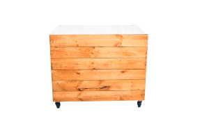 Photograph of Pallet Bar with White Acrylic Top – Solid Box Front – 1.2mW x 80cmD x 1mH