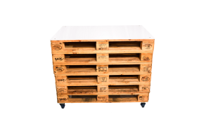 Photograph of Pallet Bar with White Acrylic Top – Stacked Pallet Front – 1.2mW x 80cmD x 1mH