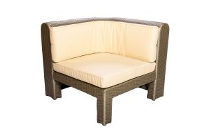 Photograph of Platinum Rattan Single Lounge Curved – 88cmW x 88cmD x 50cmH
