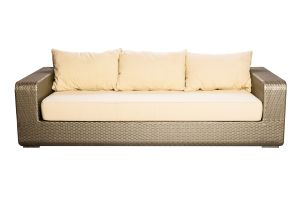 Photograph of Platinum Rattan Three Seater Lounge – 2.3mL x 97cmD x 60cmH